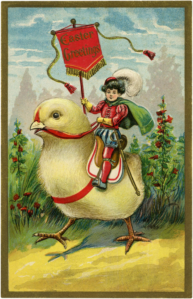 child riding Easter chick image