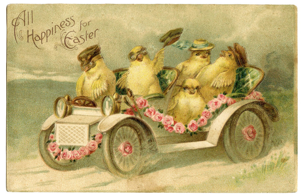Easter chicks vintage car clipart