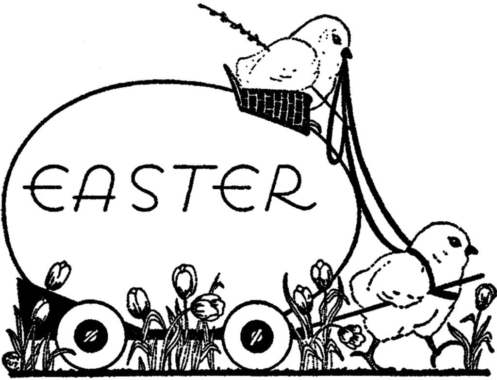 black white Easter chicks clipart