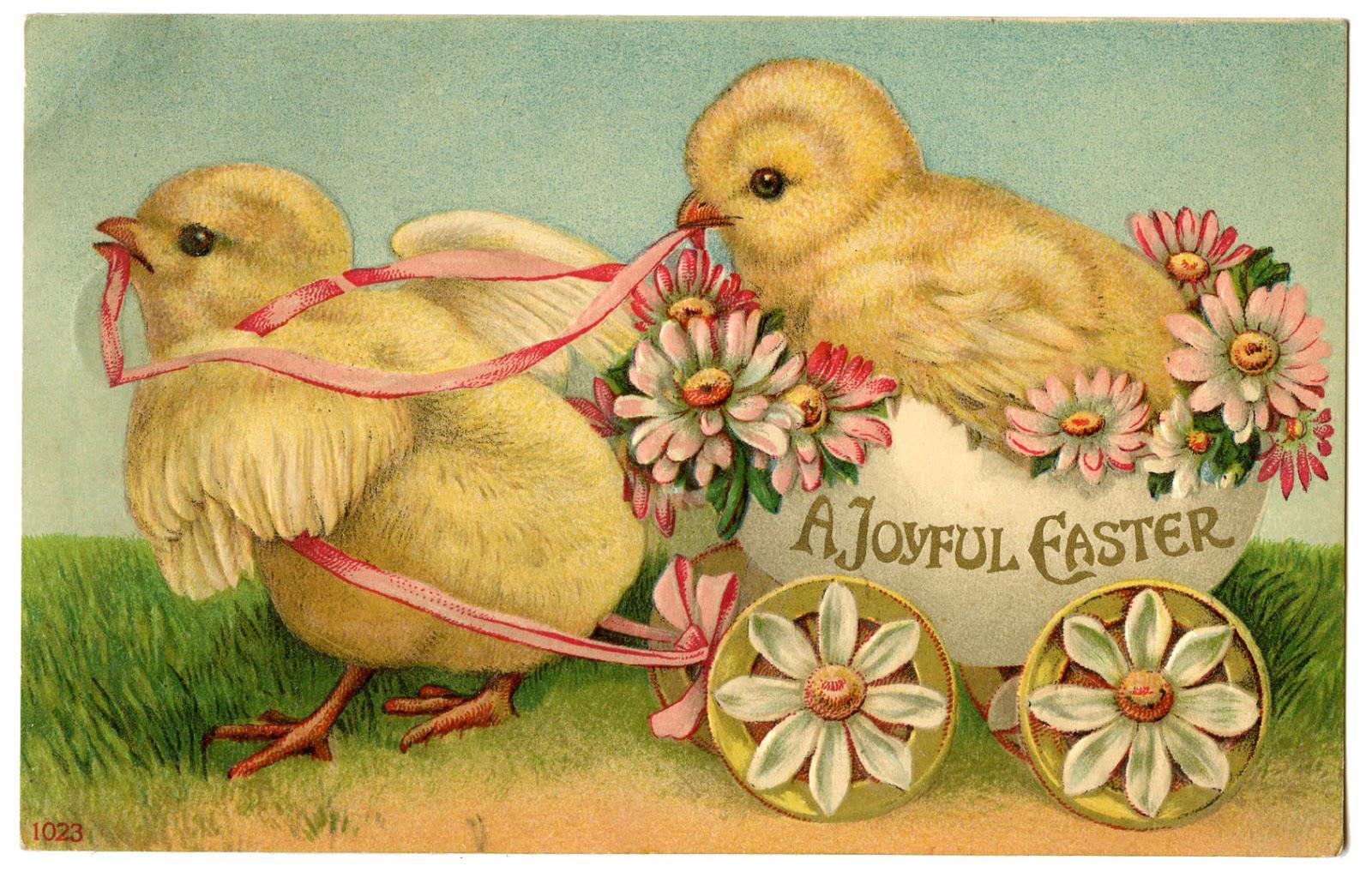 Vintage Pink Easter Card White Singing Bunnies Yellow Chicks Digital Download