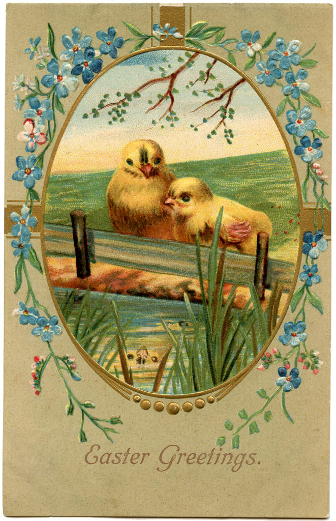 Easter chicks fence illustration