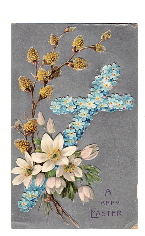 Easter cross flowers pussy willow clipart