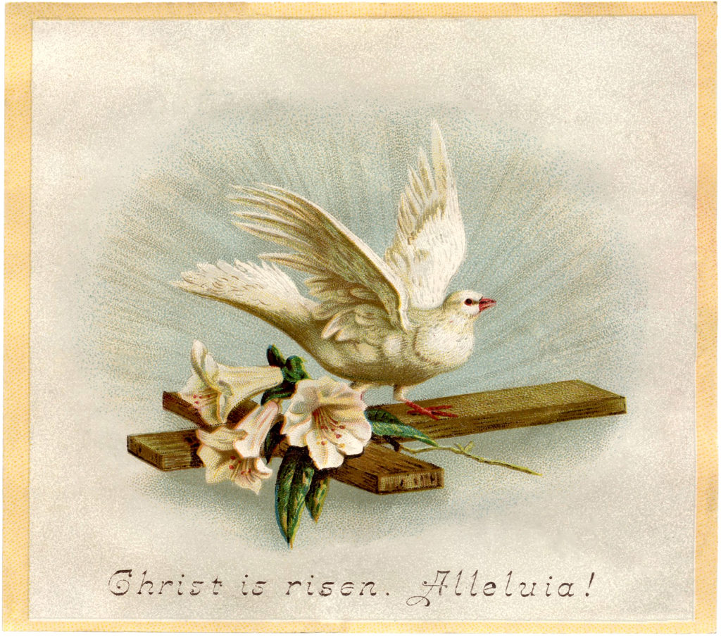 Easter cross dove lilies image