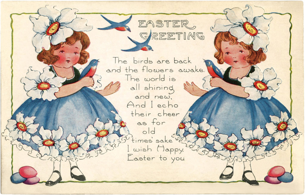 Easter Girls birds clipart