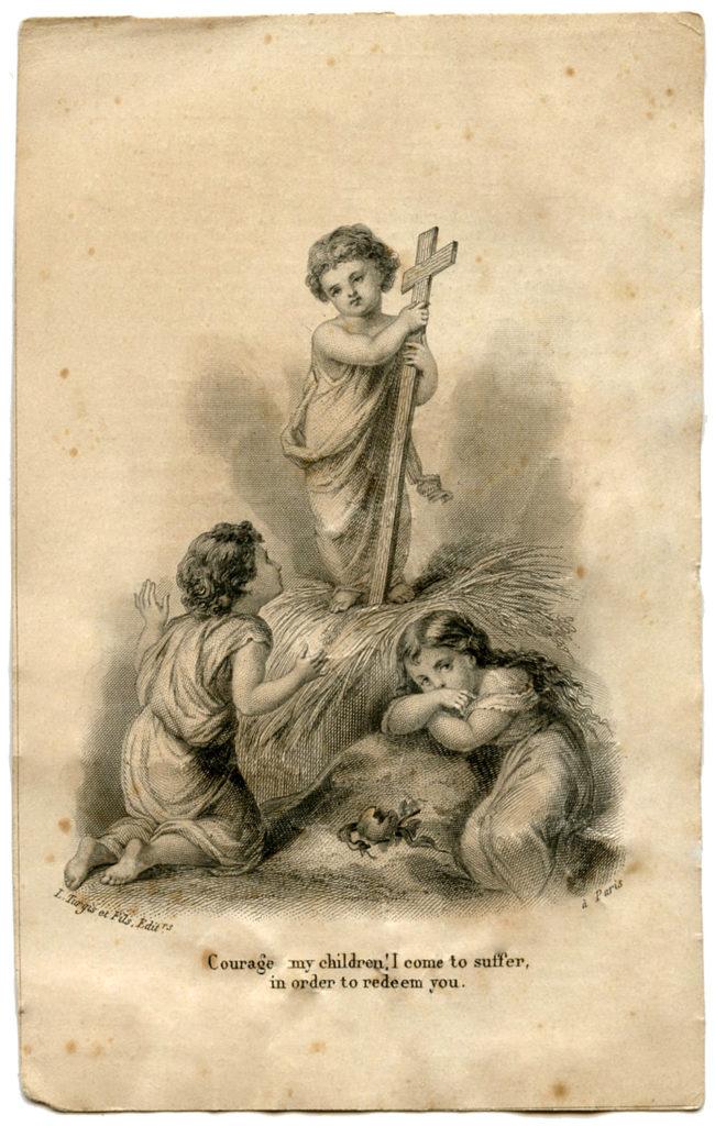 Easter Holy Card cross children image