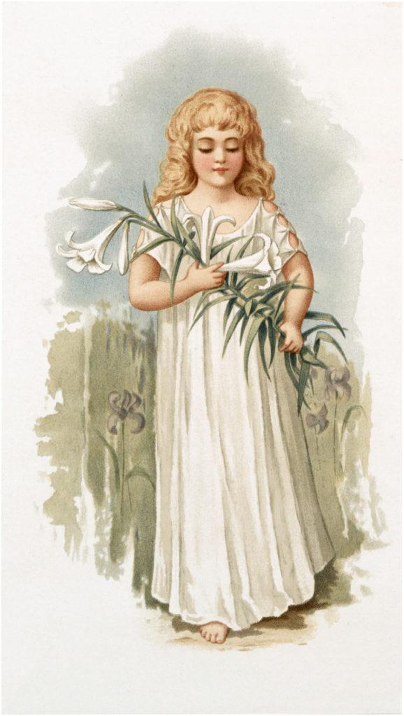 Easter Lily Girl White Dress Illustration