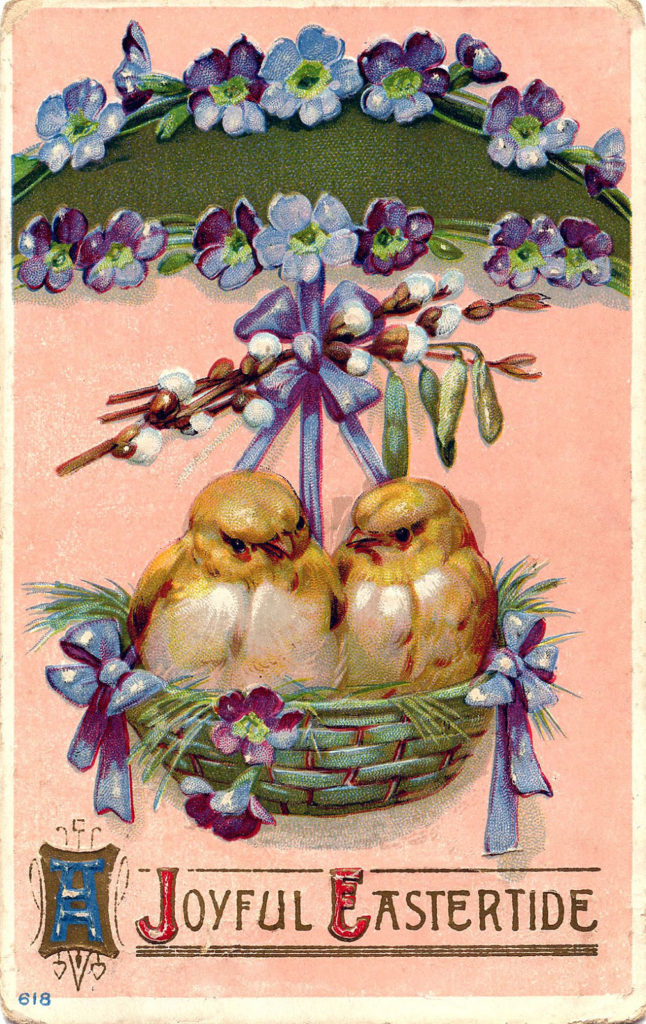 Easter chicks nest basket image