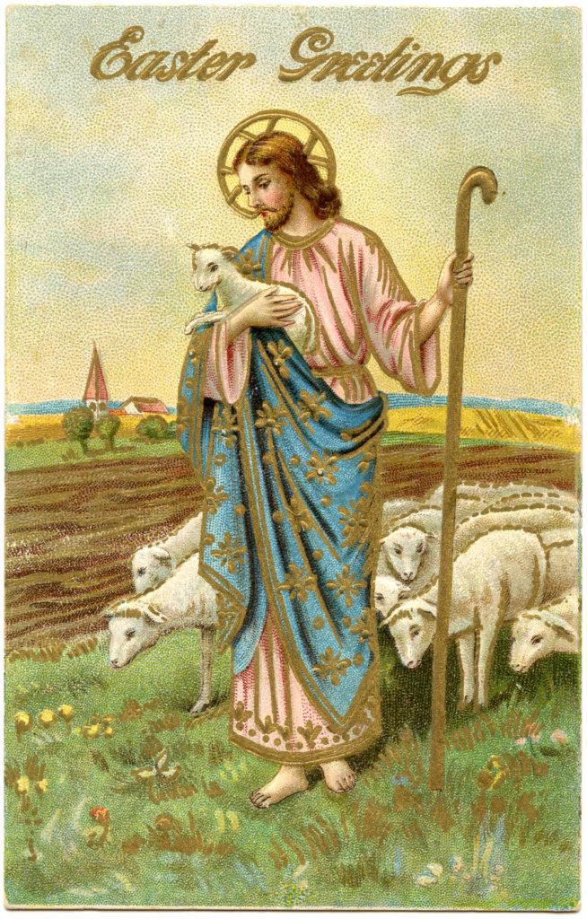 Jesus Lambs Staff Easter Image