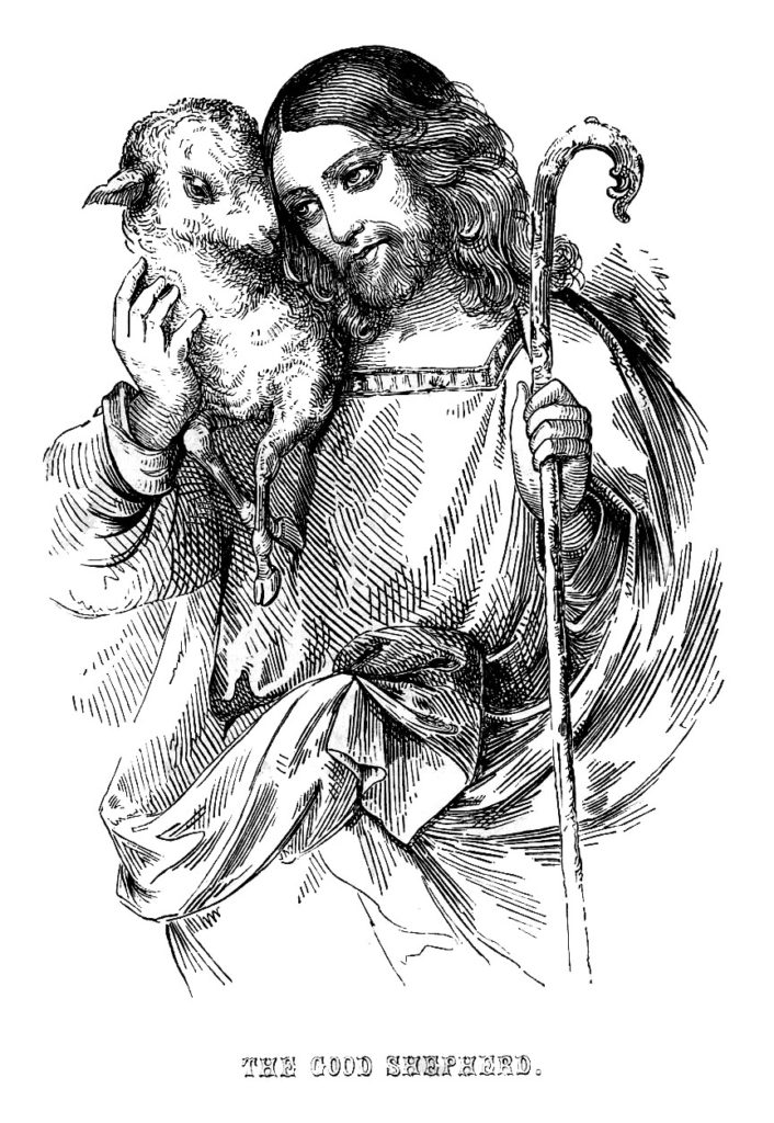 Jesus lamb staff illustration