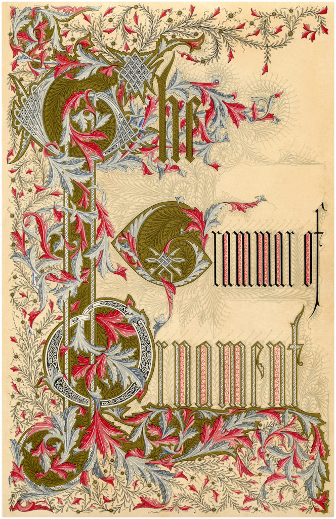 ornate typography book title page illustration