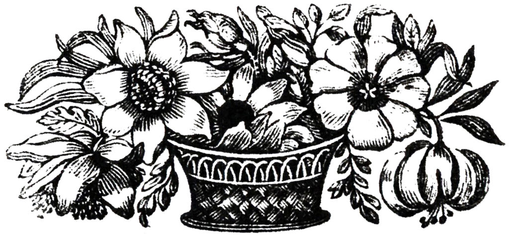 flower basket black white clip art