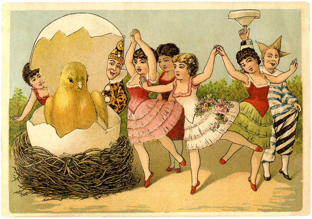 Easter chick ladies dancing image
