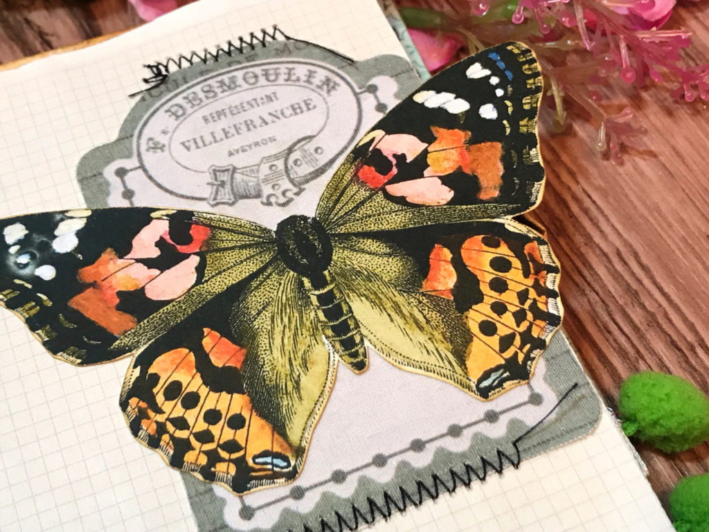 Butterfly French Advertising Junk Journal Page