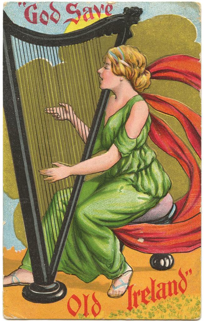 Irish Lady Playing Harp Picture