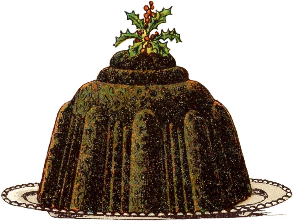 vintage christmas plum pudding dessert illustration