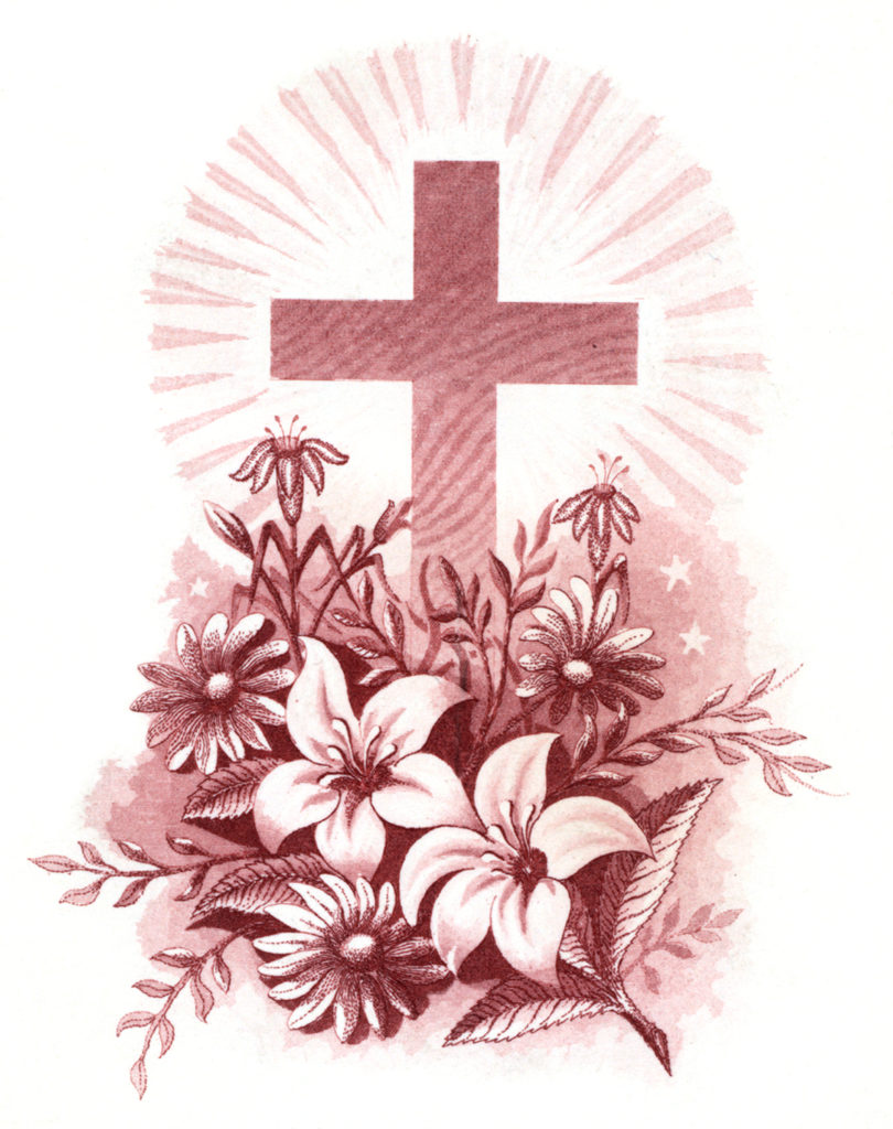 Easter Cross flowers pink red image
