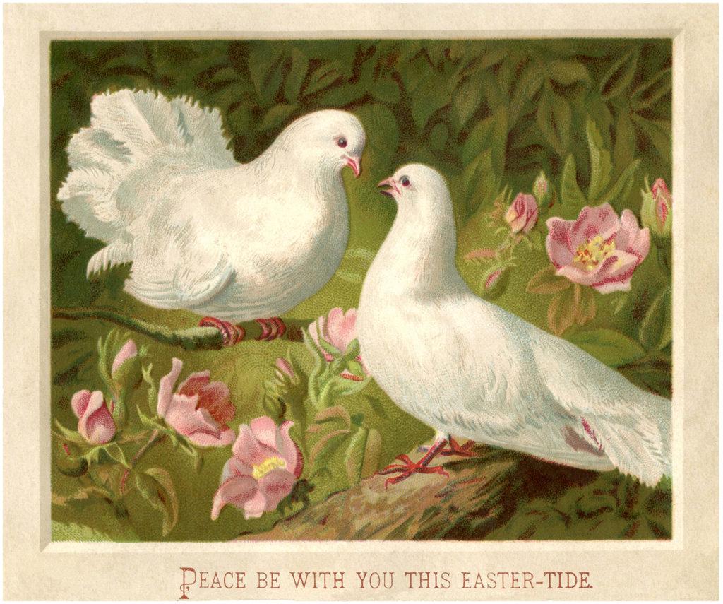 Vintage Easter doves image