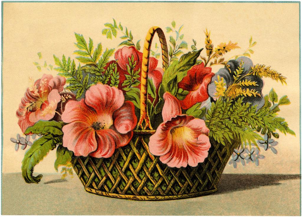 vintage pink flower basket image