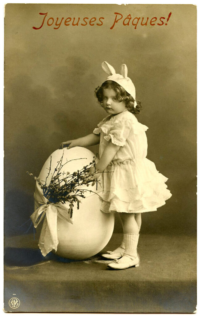 Vintage Photo Girl in Easter Bunny Costume