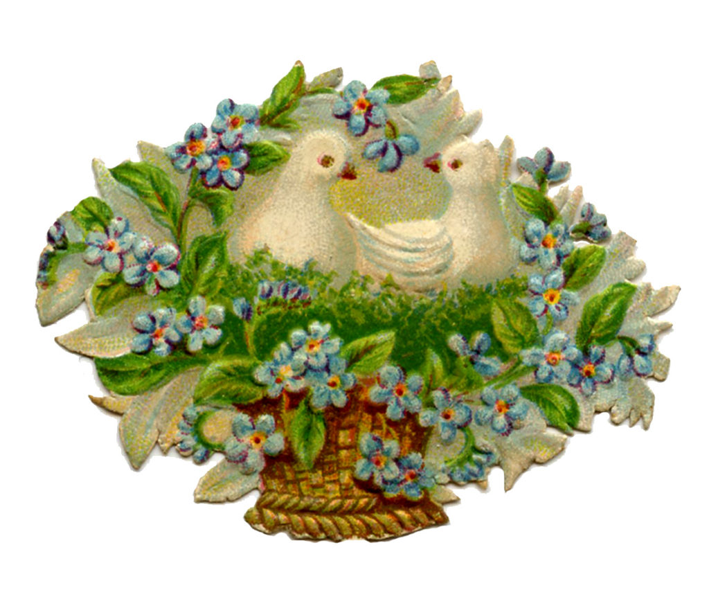 flower basket doves birds clipart
