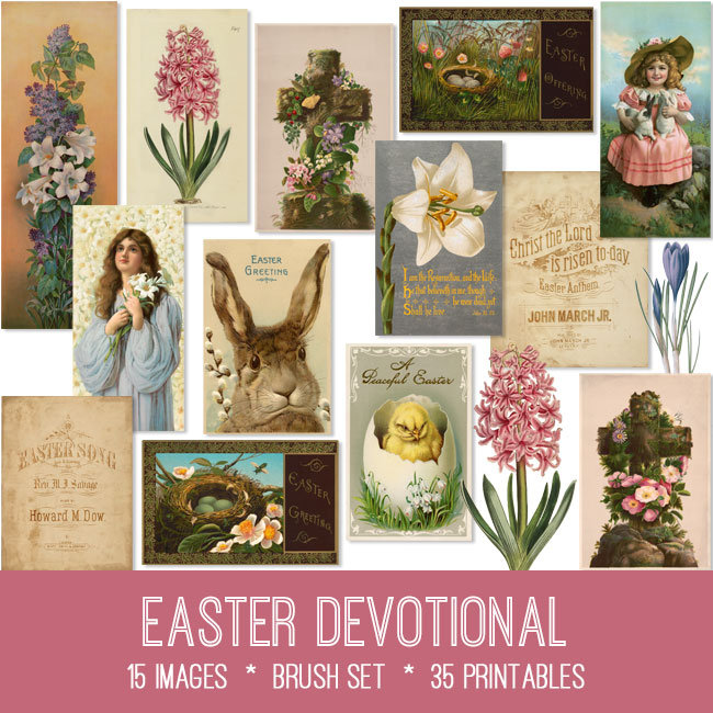 Easter devotional ephemera vintage images
