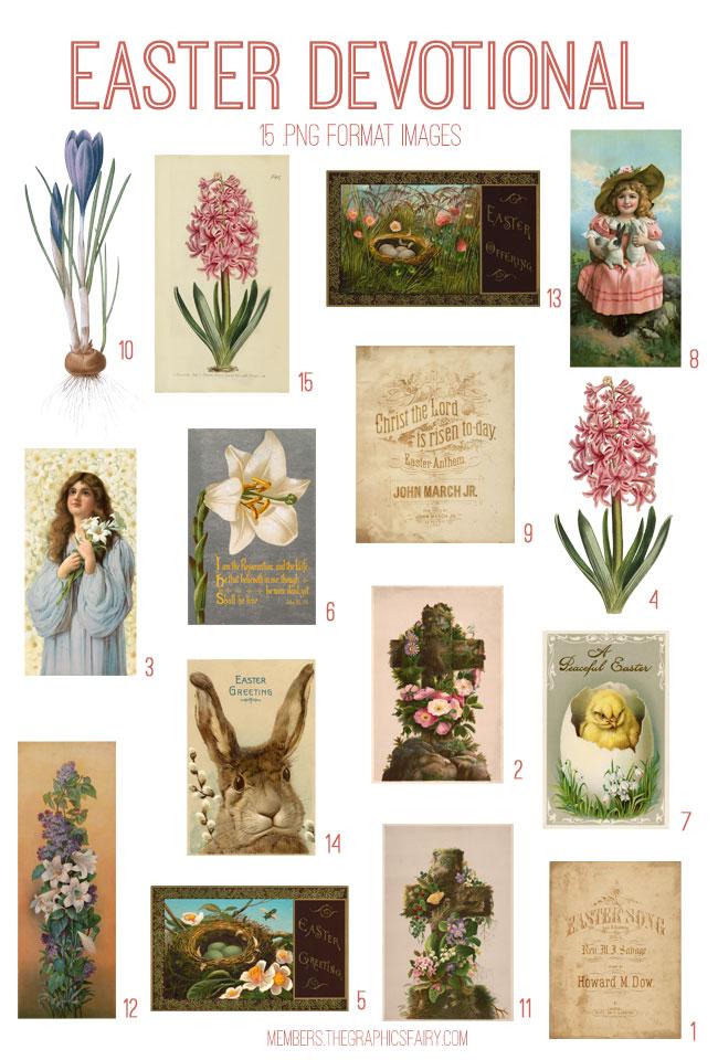 vintage Easter devotional ephemera digital image bundle