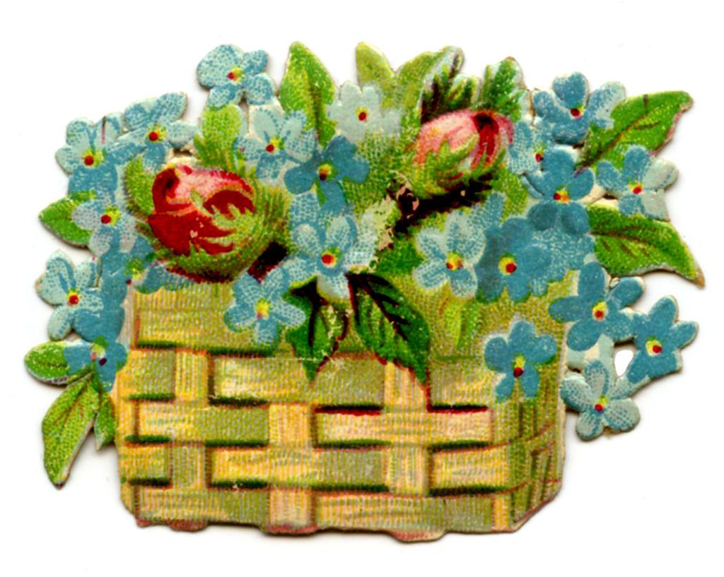 floral basket roses blue flowers clipart