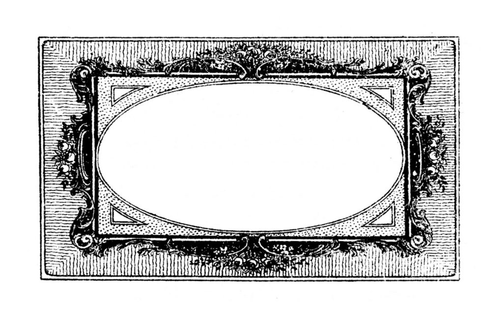 french frame black white clipart
