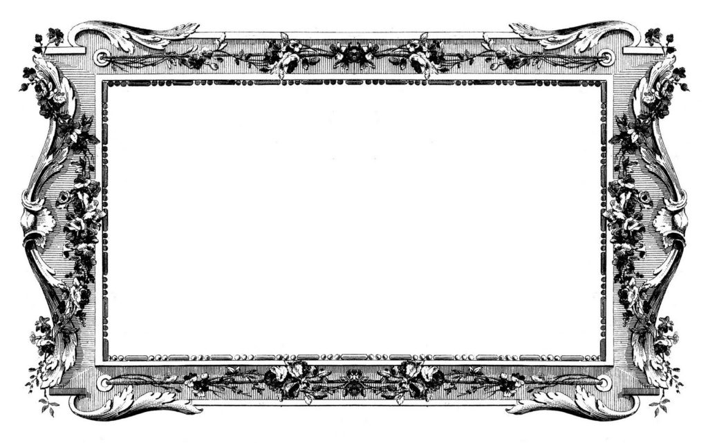 french graphic frame black white clipart