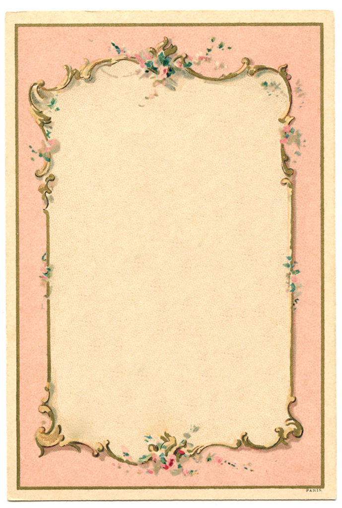 french pink frame vintage illustration
