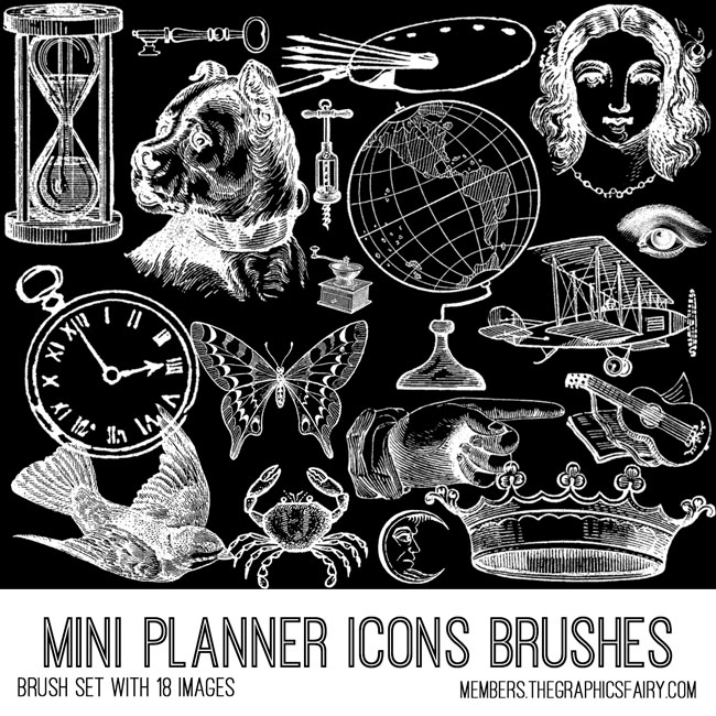 vintage mini planner icon ephemera brush set