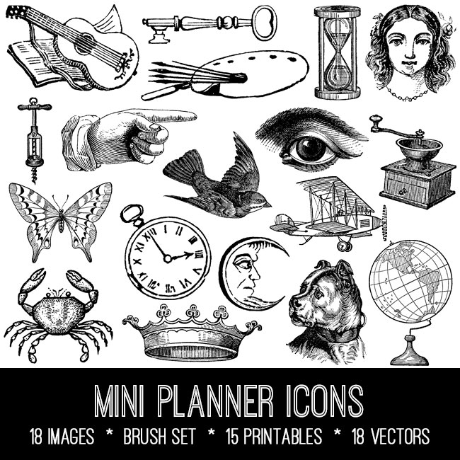 mini planner icons ephemera vintage images