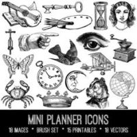 vintage planner icons ephemera bundle