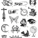 vintage printer icons ephemera digital image bundle