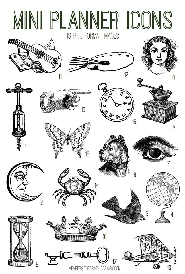 vintage mini planner icons ephemera digital image bundle