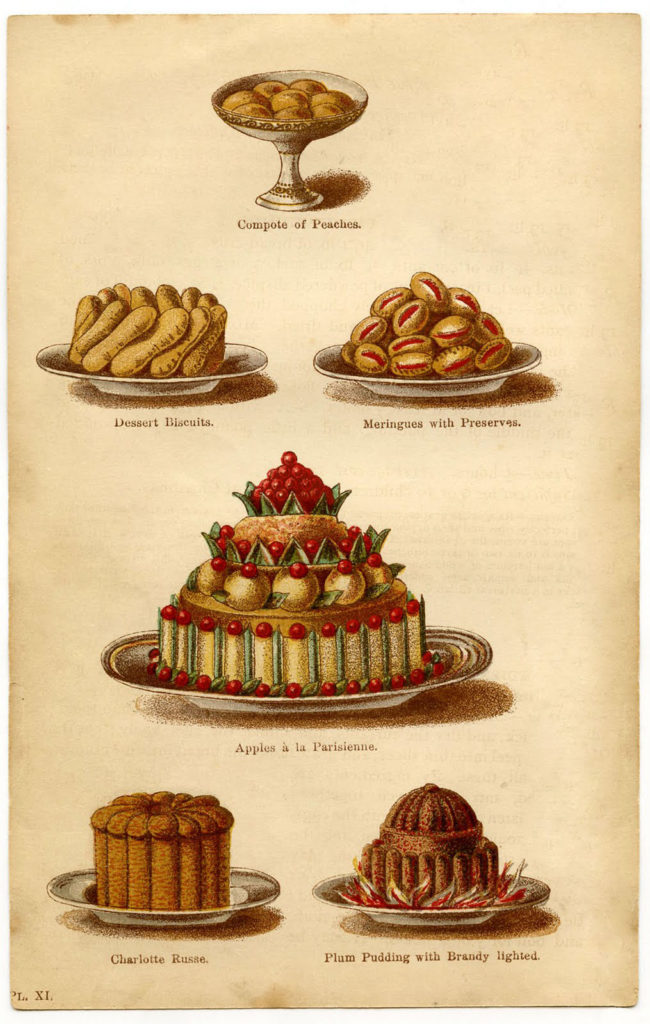 vintage French plum pudding illustration