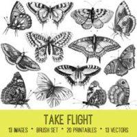 vintage take flight butterfly ephemera bundle