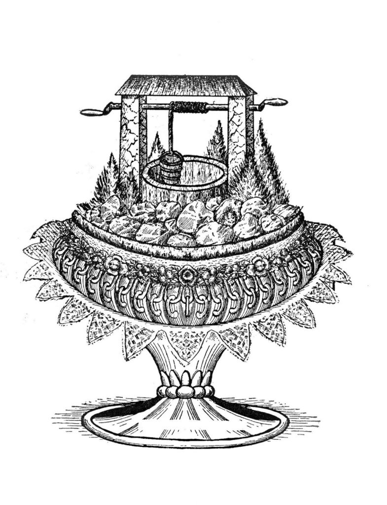 vintage fancy wishing well cake clipart