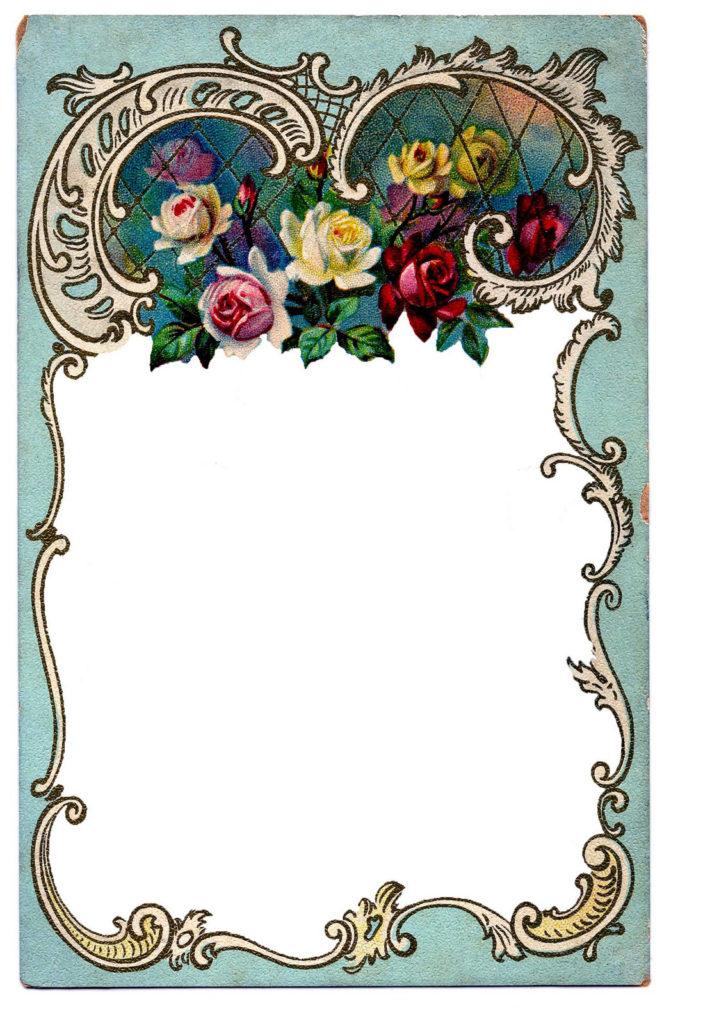 vintage blue floral frame image