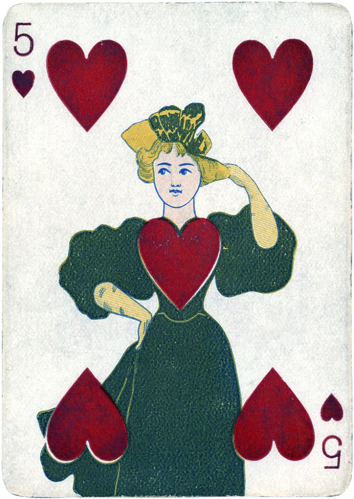 vintage playing card lady hearts illustration
