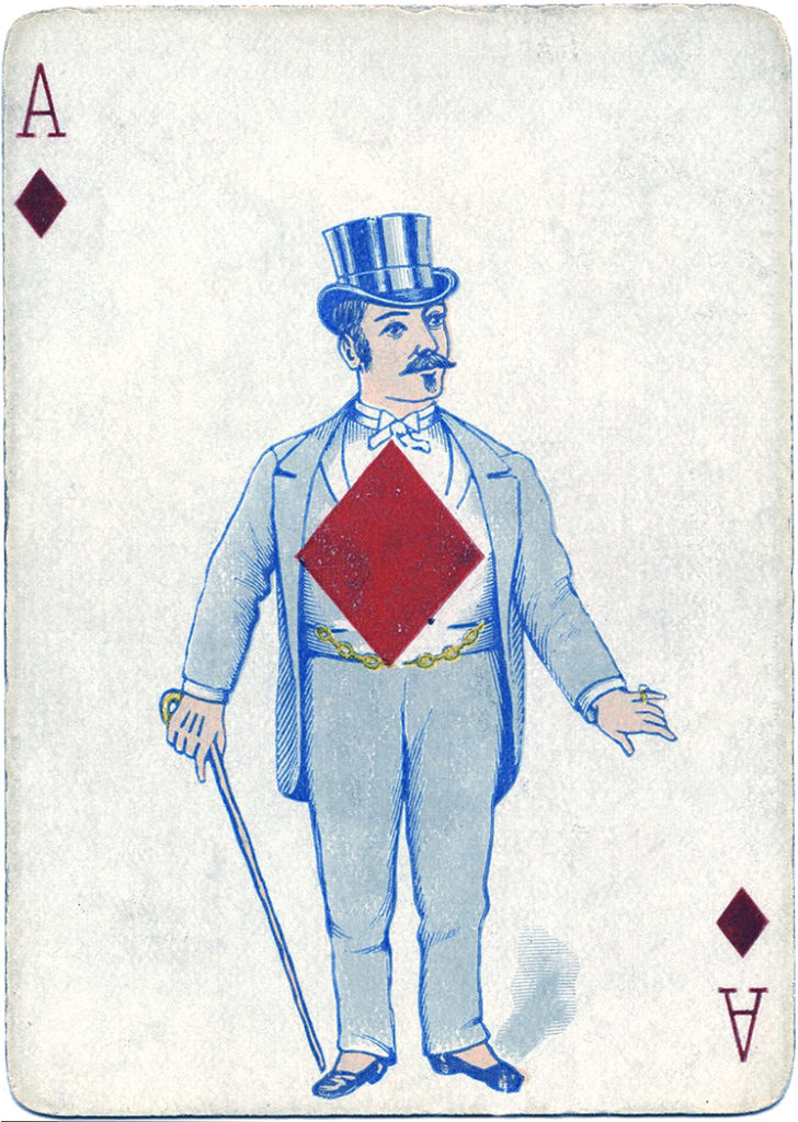 antique playing card man ace diamonds clipart