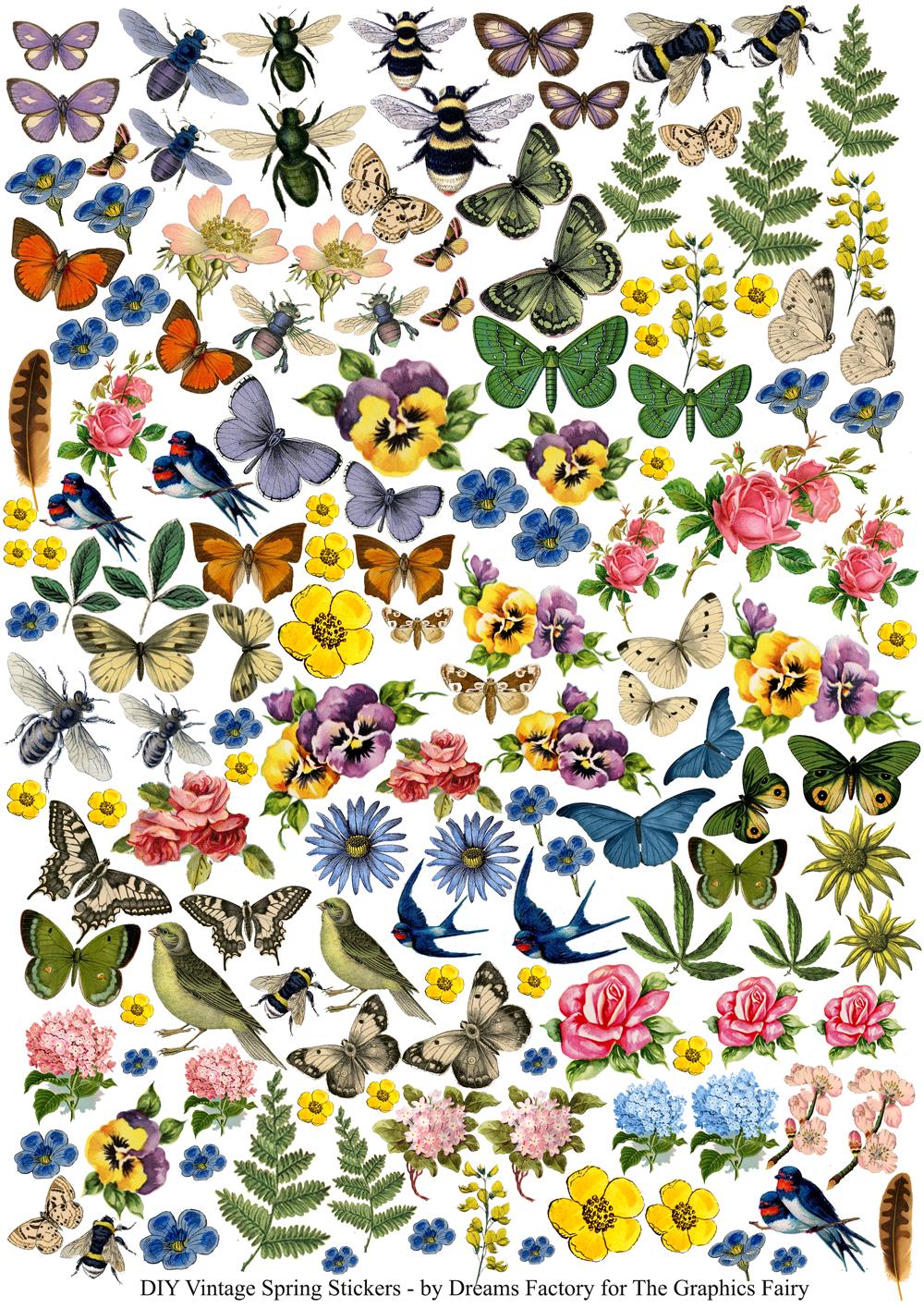 DIY Vintage Spring Stickers & free printable!