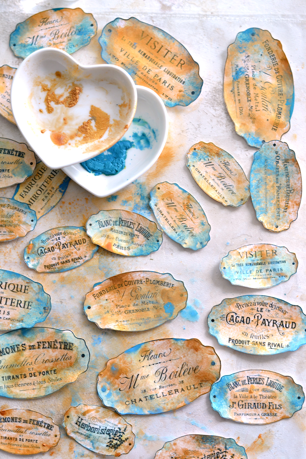 DIY Faux Blue Patina French Labels