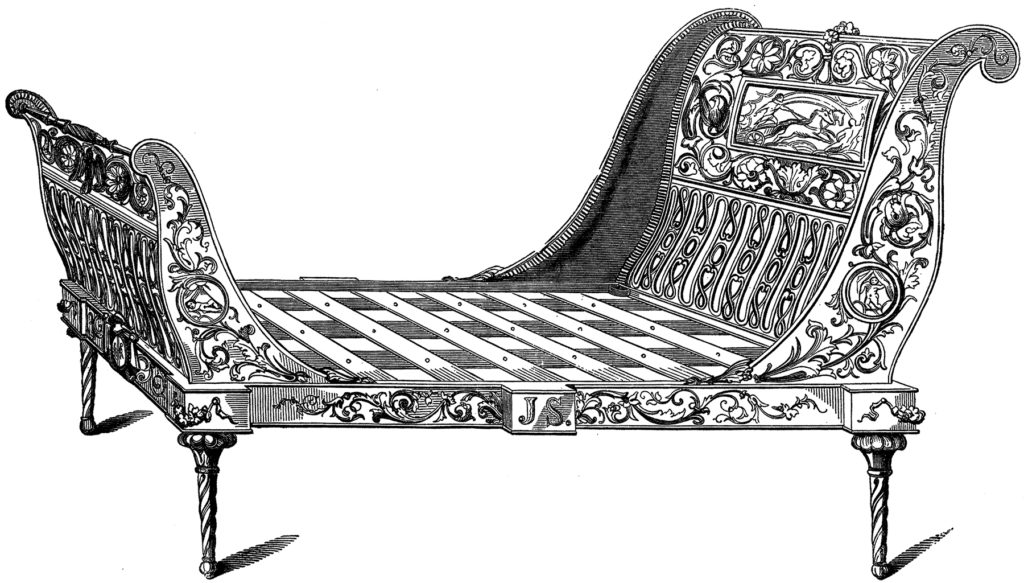 antique sleigh bed illustration