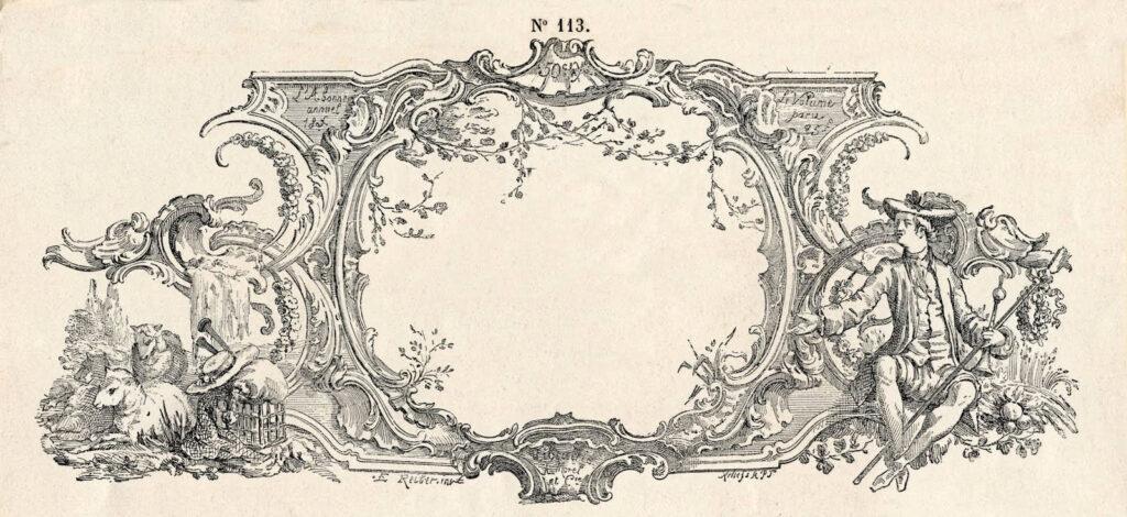 French Toile Frame ephemera