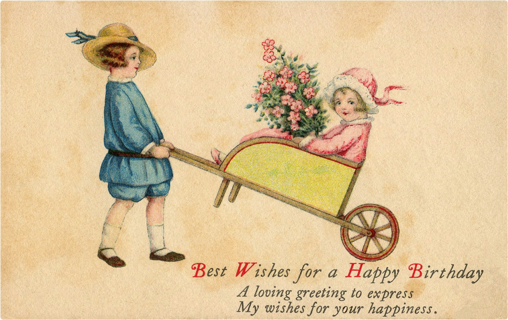 Happy Birthday Kids in Wheelbarrow Image
