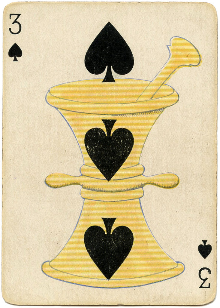 antique playing card apothecary illustration
