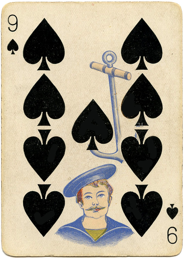 antique playing card sailor spades image