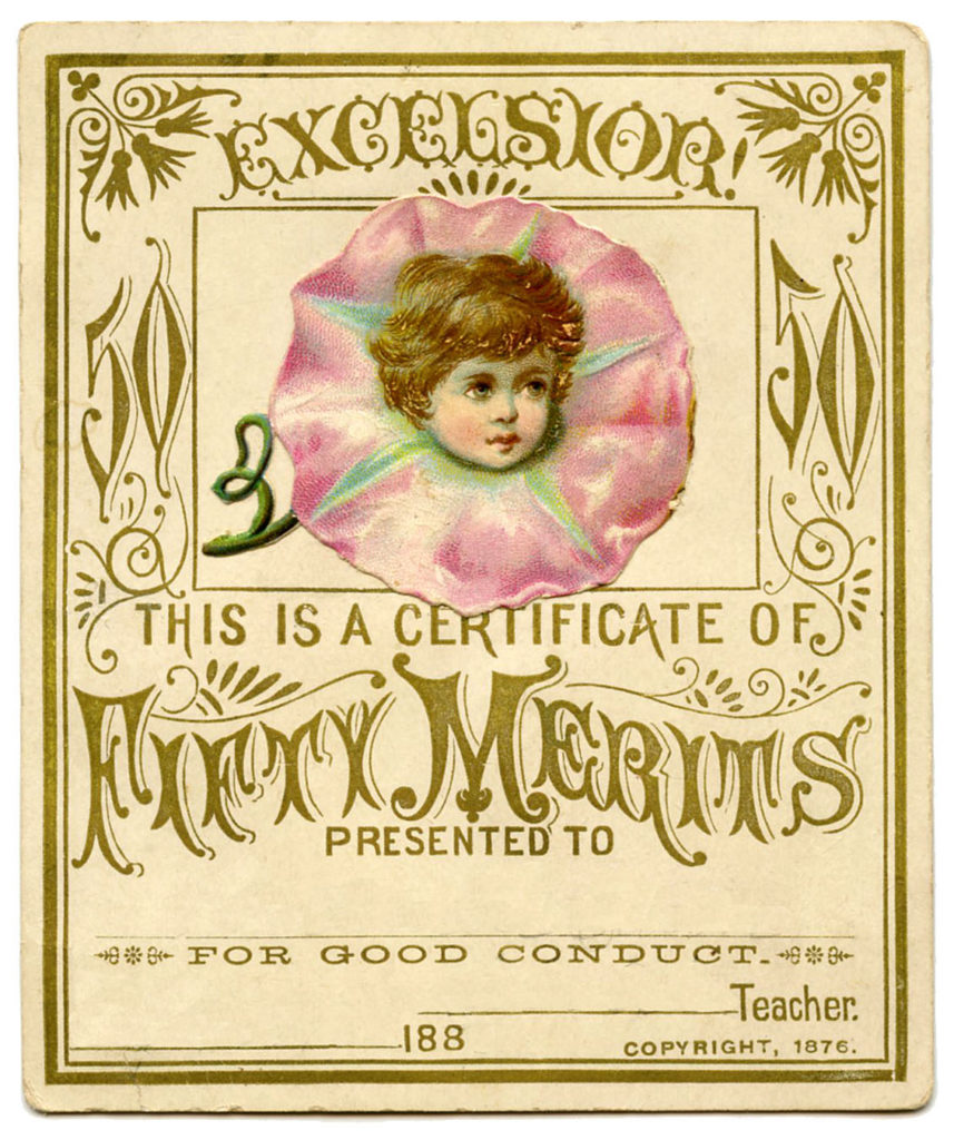 antique certificate morning glory typography image