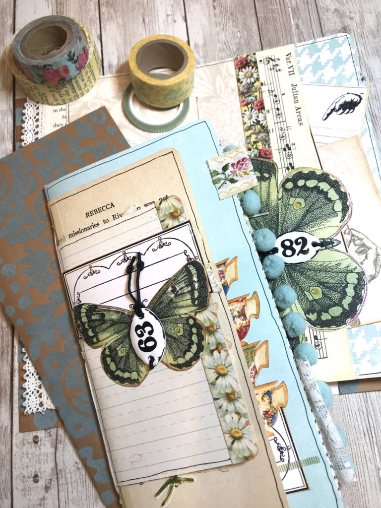 Tea Travelers Notebook butterfly number tag